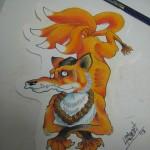Ben Lambert Lark Tattoo Albany NY Kitsune Drawing Color