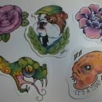 Ben Lambert Albany NY Lark Tattoo Drawing Color Flash Collection