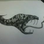 Ben Lambert Lark Tattoo Albany NY Snake Black and Gray Drawing
