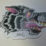 Ben Lambert Lark Tattoo Albany NY Wolf Head Drawing Color