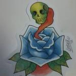 Ben Lambert Albany NY Lark Tattoo Color Drawing Skull Rose