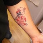 Skeleton baseball player color tattoo