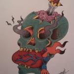 Lark Tattoo Albany NY Ben Lambert Skull Dagger Brains Flames Heart