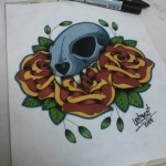 Ben Lambert Skull Flowers Drawing Color