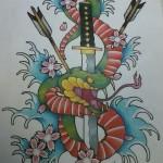 Snake Dagger Water Finger waves arrows flowers Ben Lambert Albany NY Lark Tattoo