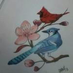 Bluejay Cardinal Flower Drawing Lark Tattoo Albany NY