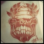 Lark Tattoo Albany Ben Lambert Skull Banner Wreath