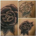Rose cover up tattoo black and gray Ben Lambert Albany New York