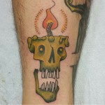 candle funky color tattoo