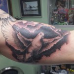 dove bird black and grey tattoo