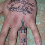 Tom Martin LArk Tattoo Albany NY Tbone Knuckle Finger Dagger