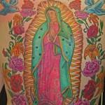 Tom MArtin Tbone Lark Tattoo Albany NY Mary Color Backpiece Traditional