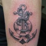 Lark Tattoo Albany NY Kyle Lavorgna Anchor Rope Life Preserver Black And Gray