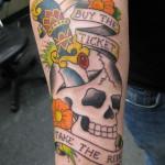 Lark Tattoo Albany NY Kyle Lavorgna Traditional American Skull Dagger Flowers