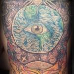 Lark Tattoo Albany NY Tom Martin Tbone Backpiece Color Eye Earth Moon Stars