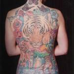 Lark Tattoo Albany NY Tom Martin Tbone Backpiece Color Tigers Flowers