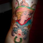 Tom Martin Tbone Lark Tattoo Albany NY Traditional American Color Cowgirl