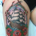 Lark Tattoo Albany NY Kyle Lavorgna Clipper Ship Color