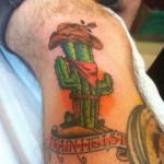 Lark Tattoo Albany NY Kyle Lavorgna Cowboy Train Heists Color Cactus