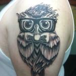 Kyle Lavorgna Albany NY Lark Tattoo Owl Glasses Bowtie