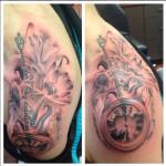 peewee_anthonysinerco_clock_flowers_lettering_blackandgray