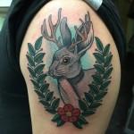 Lark Tattoo Albany NY Kyle Lavorgna Jackelope Color Traditional Amerian