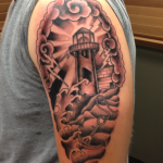 kirby lighthouse black and grey tattoo