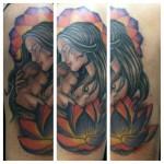 mother daughte color mandala lotus tattoo