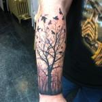 Lark Tattoo Albany NY Kyle Lavorgna Birds Tree Silhouette