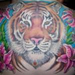 Tom MArtin Tbone Lark Tattoo Albany NY Color Tiger Flowers