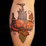 female tattooer, femaletattooartis, fox, fox tattoo, animal tattoo, color tattoo, wine, wine tattoo, grapes, grapestattoo, customtattoo, chickadee, chickadeetattoo, calftattoo, memorialtattoo, leaves, leavestattoo, leaftattoo, tattoo, tattoos, tat, tats, tatts, tatted, tattedup, tattoist, tattooed, tattoooftheday, inked, inkedup, ink, amazingink, bodyart, tattooig, tattoosofinstagram, instatats  #larktattoo, larktattoos, larktattoowestbury, westbury, longisland, NY, NewYork, usa, art, hannah, hannahclock