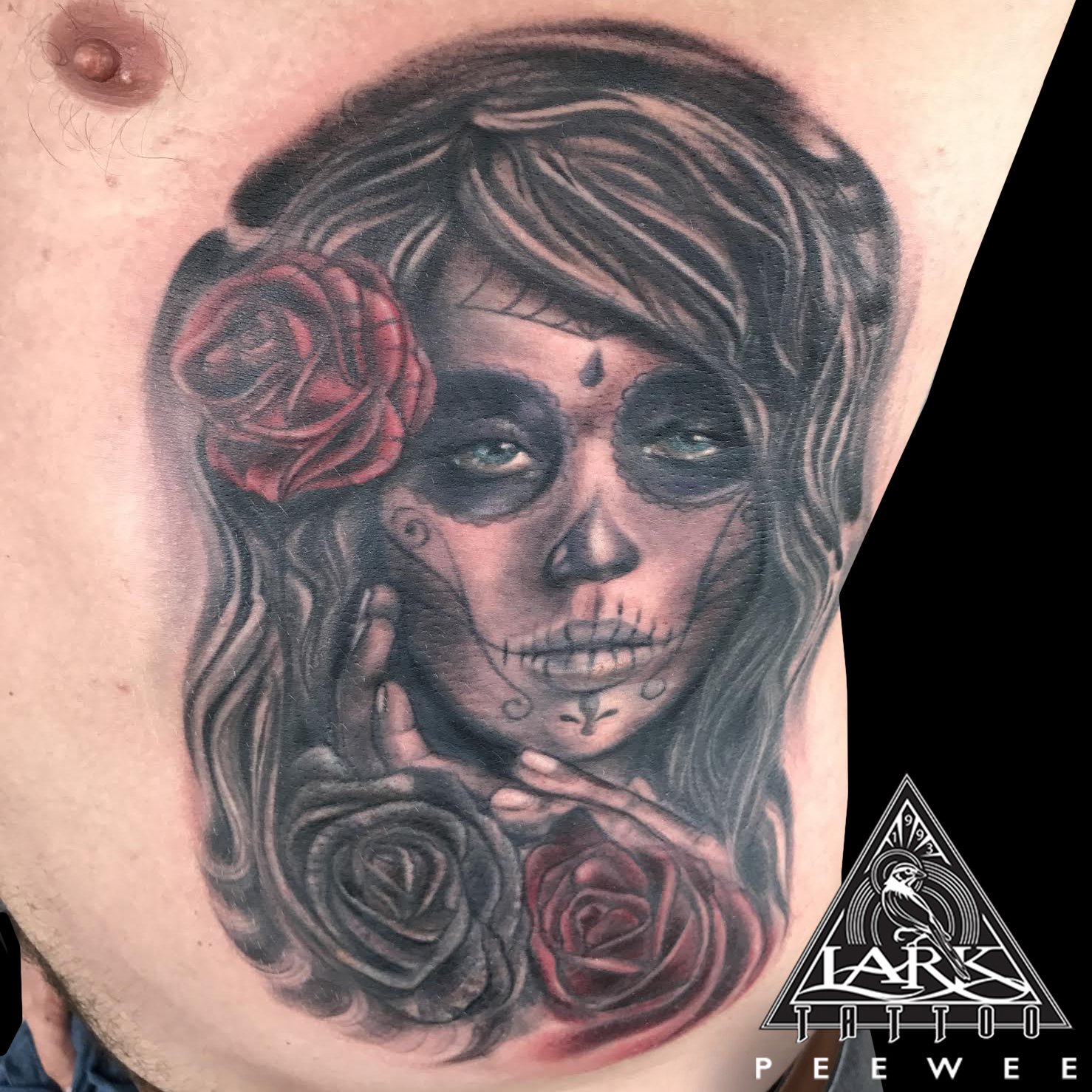Peewee, DayOfTheDead, DayOfTheDeadTattoo, DíaDeMuertos, DíaDeMuertosTattoo, rose, rosetattoo, tattoo, tattoos, tat, tats, tatts, tatted, tattedup, tattoist, tattooed, inked, inkedup, ink, tattoooftheday, amazingink, bodyart, tattooig, tattoosofinstagram, instatats , larktattoo, larktattoos, larktattoowestbury, westbury, longisland, NY, NewYork, usa, art