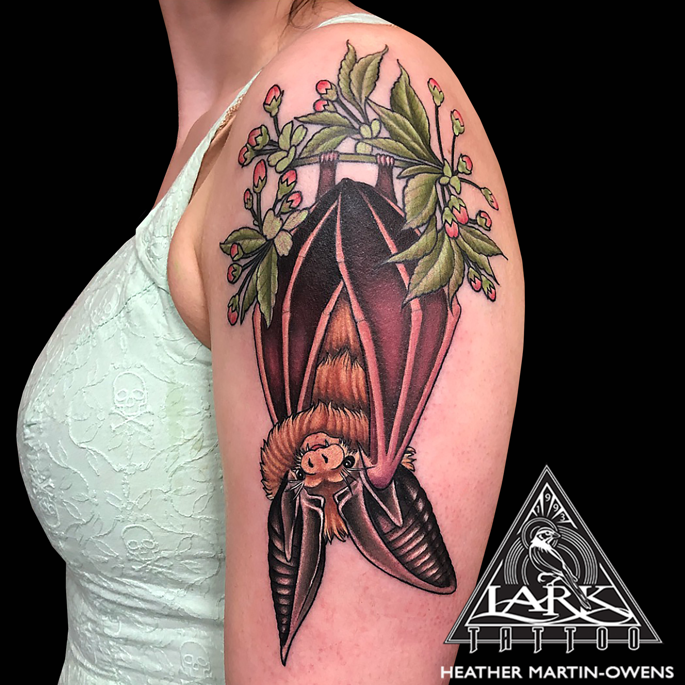 colortattoo, bat, battattoo, brownbat, brownbattattoo, EuropeanLongEaredBrownBat, EuropeanLongEaredBrownBatTattoo, armtattoo, cherryblossom, cherryblossomtattoo, femaletattoo, femaletattooartist, femaletattooer, ladytattooer, femaleartist, tattoo, tattoos, tat, tats, tatts, tatted, tattedup, tattoist, tattooed, inked, inkedup, ink, tattoooftheday, amazingink, bodyart, tattooig, tattoosofinstagram, instatats , larktattoo, larktattoos, larktattoowestbury, westbury, longisland, NY, NewYork, usa, art, heather, Martin, owens