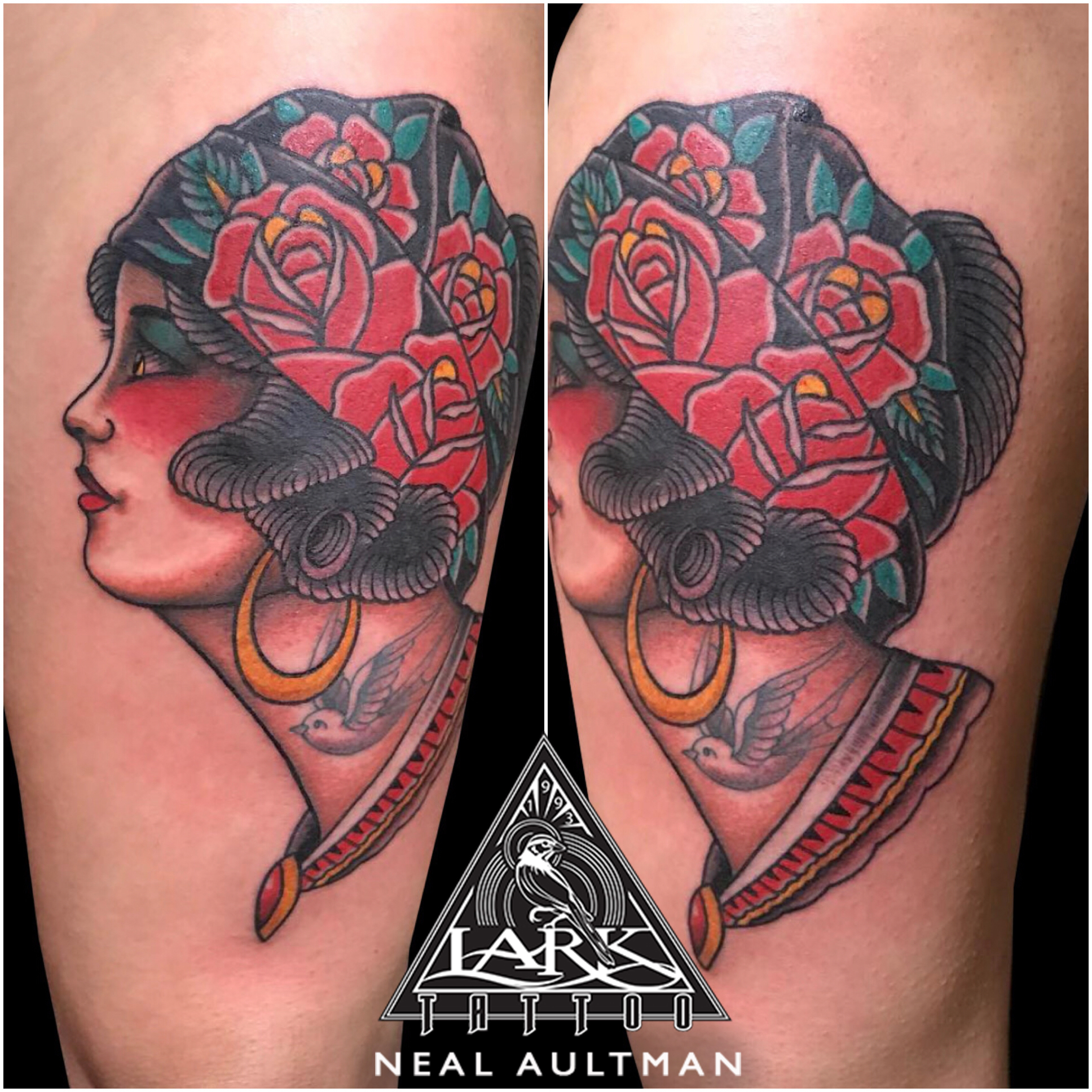 #traditional #traditionaltattoo #colortattoo #ladyhead #ladyheadtattoo #rosetattoo #rose #roses #tattoowithtattoo #swallow #swallowtattoo #tattoo #tattoos #tat #tats #tatts #tatted #tattedup #tattoist #tattooed #inked #inkedup #ink #tattoooftheday #amazingink #bodyart #tattooig #tattoosofinstagram #instatats #larktattoo #larktattoos #larktattoowestbury #westbury #longisland #NY #NewYork #usa #art #neal #aultman #nealaultman