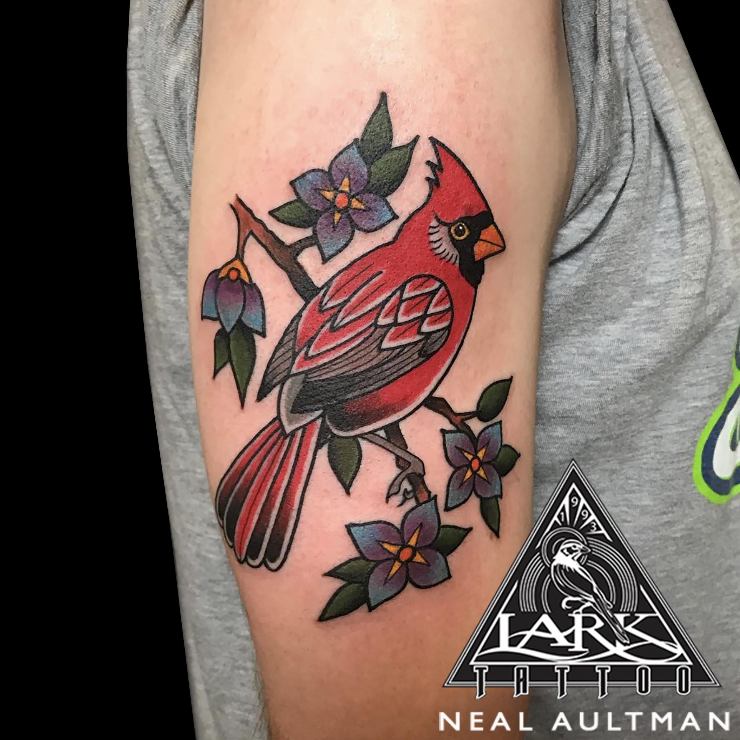 color, colortattoo, bird, birdtattoo, traditional, traditionaltattoo, cardinal, cardinaltattoo, cardinalbird, traditionalcardinal, traditionalcardinaltattoo, tattoo, tattoos, tat, tats, tatts, tatted, tattedup, tattoist, tattooed, inked, inkedup, ink, tattoooftheday, amazingink, bodyart, tattooig, tattoosofinstagram, instatats , larktattoo, larktattoos, larktattoowestbury, westbury, longisland, NY, NewYork, usa, art, neal, aultman, nealaultman