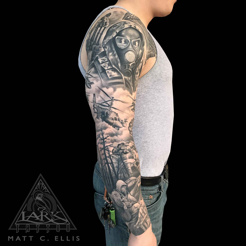 #blackandgreytattoo #blackandgraytattoo #bng #bngtattoo #bnginksociety #tattoosleeve #fulltattoosleeve #wartattoo #helicoptertattoo #gasmasktattoo #biohazardtattoo #tattoo #tattoos #tat #tats #tatts #tatted #tattedup #larktattoo
