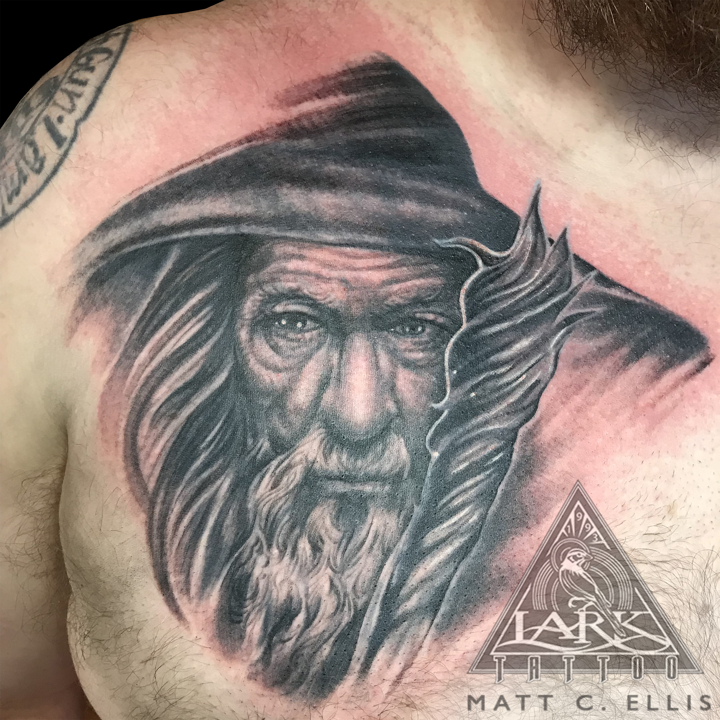 #Gandalf #GandalfTattoo #Hobbit #HobbitTattoo #TheLordOfTheRings #TheLordOfTheRingsTattoo #FellowshipOfTheRing #FellowshipOfTheRingTattoo #Wizard #WizardTattoo #Tolkien #TolkienTattoo #JRRTolkien #JRRTolkienTattoo #Tattoo #Tattoos #BNG #BNGTattoo #PortaitTattoo #Realistic #RealisticTattoo #LarkTattoo #tat #tats #tatts #tatted #tattedup #tattoist #tattooed #inked #inkedup #ink #tattoooftheday #amazingink #bodyart #tattooig #tattoosofinstagram #instatats #larktattoos #larktattoowestbury #westbury #longisland #NY #NewYork #usa #art