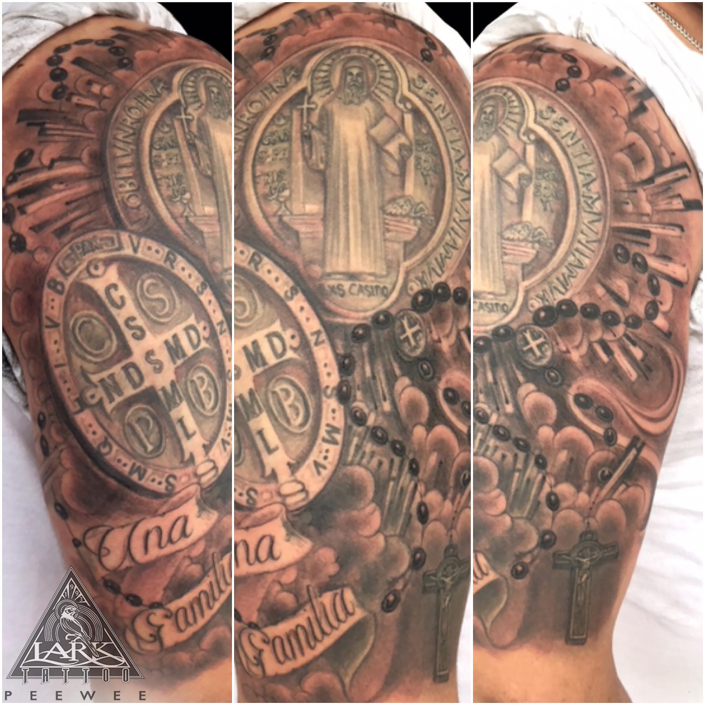 #bng #bngtattoo #blackandgraytattoo #blackandgreytattoo #religious #religioustattoo #rosary #rosarytattoo #halfsleeve #halfsleevetattoo #letteringtattoo #crosstattoo #tattoo #tattoos #tat #tats #tatts #tatted #tattedup #tattoist #tattooed #inked #inkedup #ink #tattoooftheday #amazingink #bodyart #larktattoo #larktattoos #larktattoowestbury #westbury #longisland #NY #NewYork #usa #art
