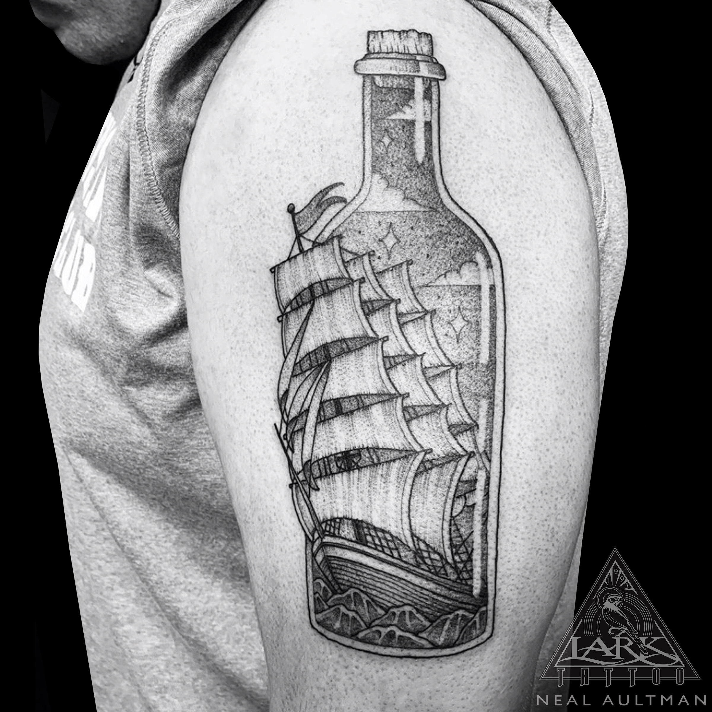#ShipInABottle #ShipInABottleTattoo #Clipper #ClipperTattoo #ClipperShipTattoo #BlackWork #BlackWorkTattoo #DotWork #DotWorkTattoo #LinesAndDots #LinesAndDotsTattoo #Stipple #StippleTattoo #BNG #BNGTattoo #BlackAndGray #BlackAndGrayTattoo #BlackAndGrey #BlackAndGreyTattoo #Ocean #OceanTattoo #Ship #ShipTattoo #Nautical #NauticalTattoo #LarkTattoo #Tattoo #Tattoos #Tat #Tats #Tatts #Tatted #Tattedup #Tattoist #Tattooed #Inked #InkedUp #Ink #TattooOfTheDay #AmazingInk #BodyArt #LongIslandTattooArtist #LongIslandTattooer #LarkTattoos #LarkTattooWestbury #Westbury #LongIsland #NY #NewYork #USA #Art