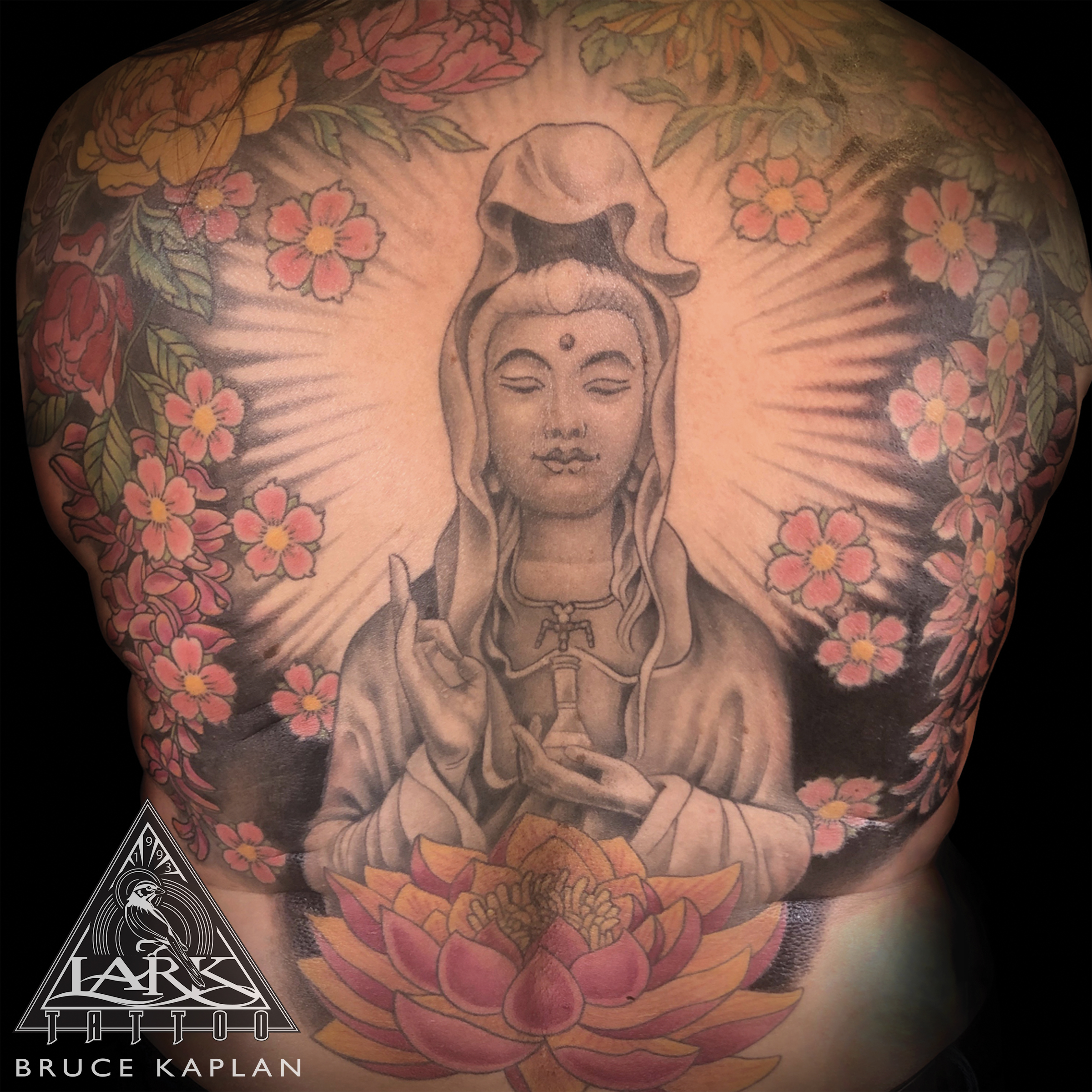 LarkTattoo, Tattoo, Tattoos , TattooArtist, Tattoist, Tattooer, LongIslandTattooArtist, LongIslandTattooer, KwanYin, KwanYinTattoo, Buddha, BuddhaTattoo, FemaleBuddha, FemaleBuddhaTattoo, ColorTattoo, BackTattoo, FullBackTattoo, LargeTattoo, LargeScaleTattoo, CherryBlossom , CherryBlossomTattoo, Lotus, LotusTattoo, Peony, PeonyTattoo, Chrysanthemum, ChrysanthemumTattoo, FlowerTattoo, LongIslandTattoo, TattooOfTheDay, Tat, Tats, Tatts, Tatted, Inked, Ink, TattooInk, AmazingInk, AmazingTattoo, BodyArt, LarkTattooWestbury, Westbury, LongIsland, NY, NewYork, USA, Art, Tattedup, InkedUp, LarkTattoos