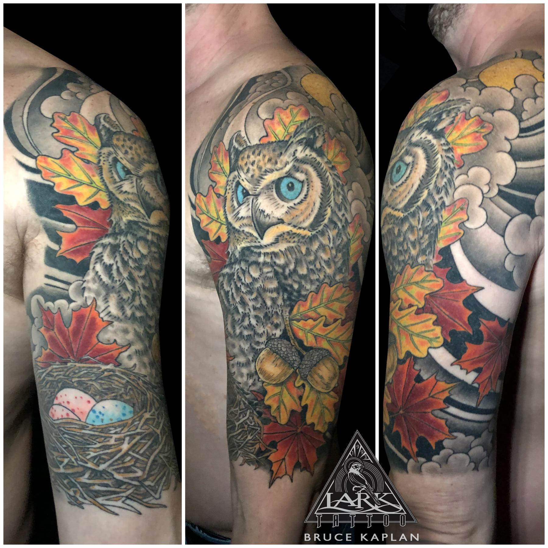 LarkTattoo, BruceKaplan, BruceKaplanLarkTattoo, Tattoo, Tattoos, Owl, OwlTattoo, Bird, BirdTattoo, HornedOwl, HornedOwlTattoo, GreatHornedOwl, OwlsOfInstagram, BirdOfPrey, BirdOfPreyTattoo, Nature, NatureTattoo, ColorTattoo, HalfSleeve, HalfSleeveTattoo, TattooArtist, Tattoist, Tattooer, LongIslandTattooArtist, LongIslandTattooer, LongIslandTattoo, TattooOfTheDay, Tat, Tats, Tatts, Tatted, Inked, Ink, TattooInk, AmazingInk, AmazingTattoo, BodyArt, LarkTattooWestbury, Westbury, LongIsland, NY, NewYork, USA, Art, Tattedup, InkedUp, LarkTattoos